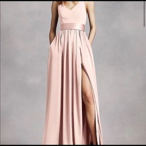 VERA WANG satin blush rose bridesmaids dress